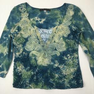 Mezon Blue Green Tie Dye Lace 3/4 Sleeve Top